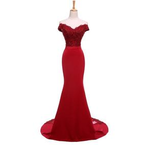 Vestido De Noche Rojo Largo Ajustado Elegante Fiesta Boda