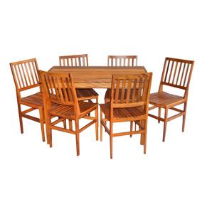 Mesa De Jantar 1,20 X 75 Cm Com 6 Cadeiras Madeira Cambury