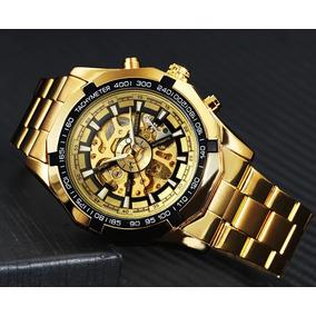 Relogio Masculino De Luxo Dourado Automatico