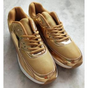 Tênis Runnig Dourado