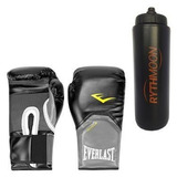 Kit Luva Muay Thai Everlast 14oz. (preto) + Squeeze 1lt