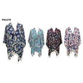 Kimono Cortos Sacos Fibrana Floreados Flecos Zaphir 3501 - 2