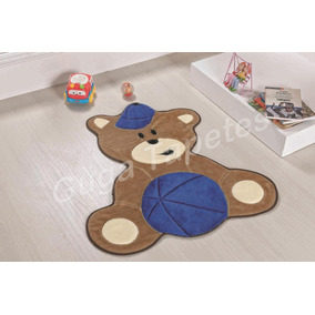 Tapete Infantil Pelúcia Urso Baby Bola Azul Quarto De Bebê