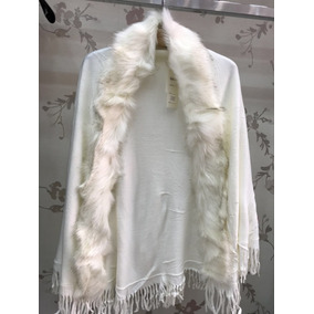 Poncho De Lã Com Pelos Sintetico Roupas Femininas