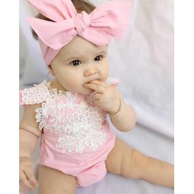 Roupa Bebê Body Renda Faixa Laço Festa Menina Top Importado
