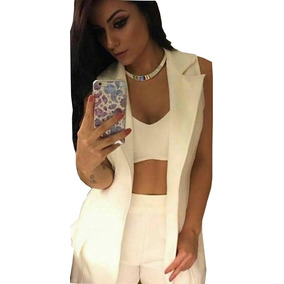 Conjunto Blazer Short E Cropped Roupas Femininas