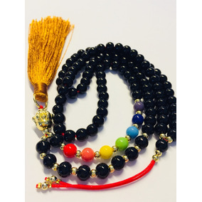 Collar Buda Japa Mala 108 C Chakras Meditacion Cristal Negro