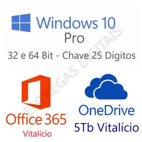 Windows 10 Pro + Office 365 Vitalício + Onedrive 5tb Nf-e