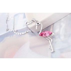 Collar Crystallized En Forma De Flamenco Rosa Certificado