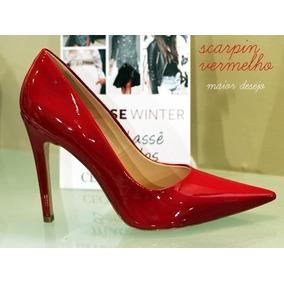 fca867dbf3 Scarpin Bico Fino Sola Vermelha Feminino - Sapatos no Mercado Livre ...