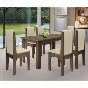 Conjunto De Mesa Cozinha Jantar 6 Cadeiras Miami