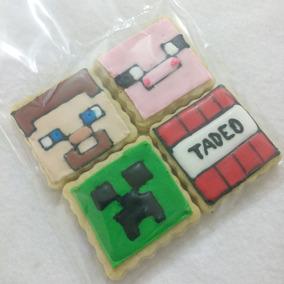 Minecraft Paquete Galleta Decorada Personalizada Cumple