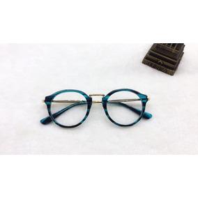 Armação Retrô P  Grau Óculos Redondo Azul Clubmaster - Óculos no ... 178011059b