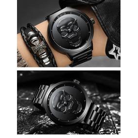 Reloj Gimto Craneo 3d Impermeable Cuarzo Vintage 47 Mm Negro