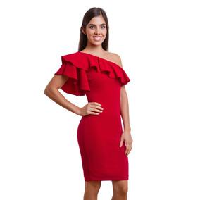 Vestido Corto Rojo Asimetrico Con Olan En Pecho