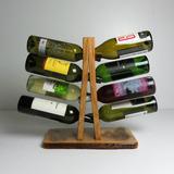 Porta 8 Botellas De Vino Botellero Madera Con Corteza Troy