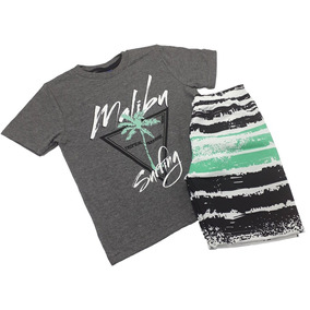 Conjunto Infantil Masculino Bermuda Tactel Camiseta Malha