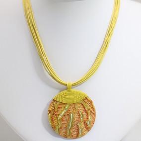 Colar Feminino 2018 Moda Praia Amarelo Pingente Trabalhado
