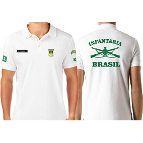 8228102ab Camiseta Tipo Polo Infantaria Exército Militar Armas Alusiva