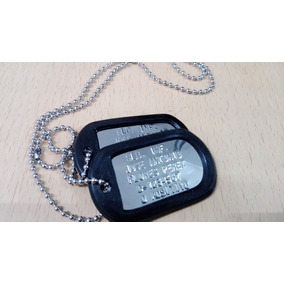 Juego Placas Identificacion Militar Dog Tag Relieve Brillant d1bedd2661d