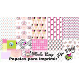 Kit Imprimibles Papeles Digitales 3 Cuarto Oficina Minnie