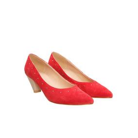 Stilletos Bajos Gamuzados Jaipur Rojo Lazaro De Mujer
