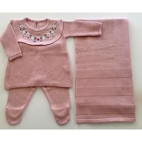 Saída Maternidade Tricô Gola Rendada Vestido + Calça + Manta