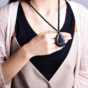 Collar Obsidiana Buda Y Kuan Yin Dije Rosario Suerte Amuleto