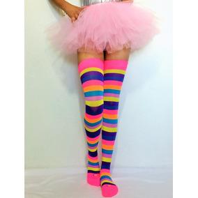 Media Calceta Rainbow Arcoiris Lolita Sexy Payaso Rayada #15