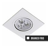 Kit C/3 Spot Led Direcionável 3w Quadrado Branco Frio Bivolt