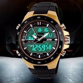 Relógio Masculino Sport Digital Wr50m Cromado Skmei 1016