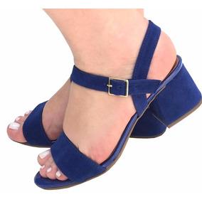 Sandália Azul Fivela Salto Grosso Baixo Frete Grátis 2182