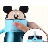 1.garrafa Da Criança Do Bebê Térmica Disney Mickey Azul Inox