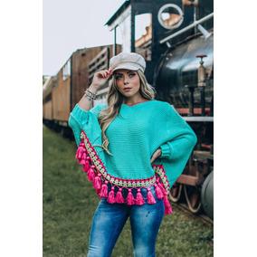 Poncho Feminino Lã Batida Tricot Inverno 2018 Colorido