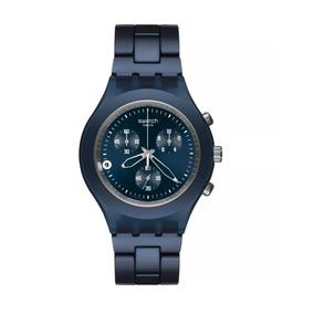Relógio Pulso Feminino Swatch Azul Original C/nf Svcn4004ag