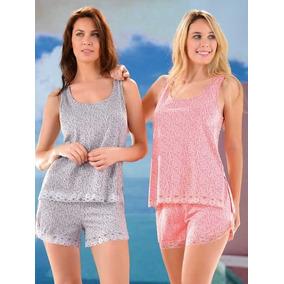 Pijama De Viscosa Con Puntilla. Lencatex Art.9786