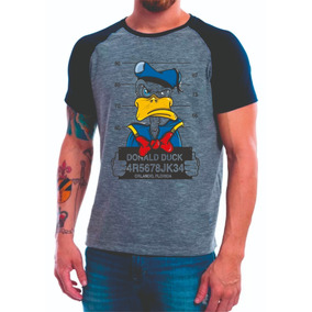 Camiseta Raglan Cinza Pato Donald Thug Estilo Nine b0bbf5fec2d
