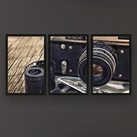 Quadro Com Moldura Câmera Fotografia Kit 3pc