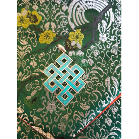 Nudo Infinito Tibetano Plata 925 Y Jade 7cm