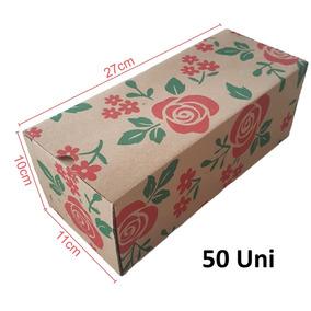 50 Caixas Papelão 27x11x10 Cm Caixinha Chinelo Montável K015