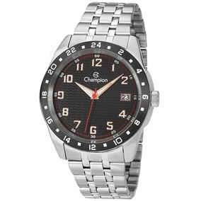 Relógio Champion Masculino Aço Prata Visor Preto Ca31382t