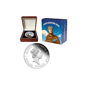Moeda Tuvalu 2010 1$ Sir Charles Kingsford Smith 1 Oz Prata