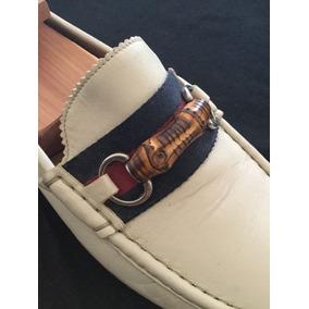 Mocasines Gucci Bamboo 100%originales Usados Blanco Remato