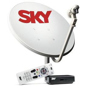 Kit Antena Parabólica E Receptor Sky Pré Pago Flex Sd / Hd