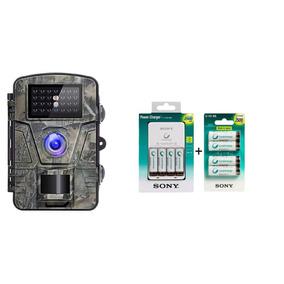 Câmera De Trilha Noturna + Carregador C/kit 8 Pilhas Sony Aa