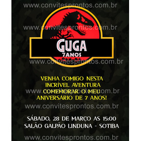 Convite De Aniversário Digital Dinossauro Jurassic Park