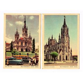 Cartao Postal Tipografico Igrejas Belo Horizonte Anos 50