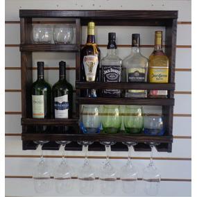 Adega Porta Taças Bar Barzinho Parede Em Madeira M10