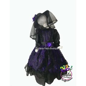 Disfraz Catrina Vestido Morada Catrin Muertos Niña Muertos b808e6bf507