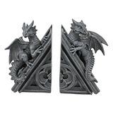 Sujetalibros De Escultura De Dragones De Castillo Gótico